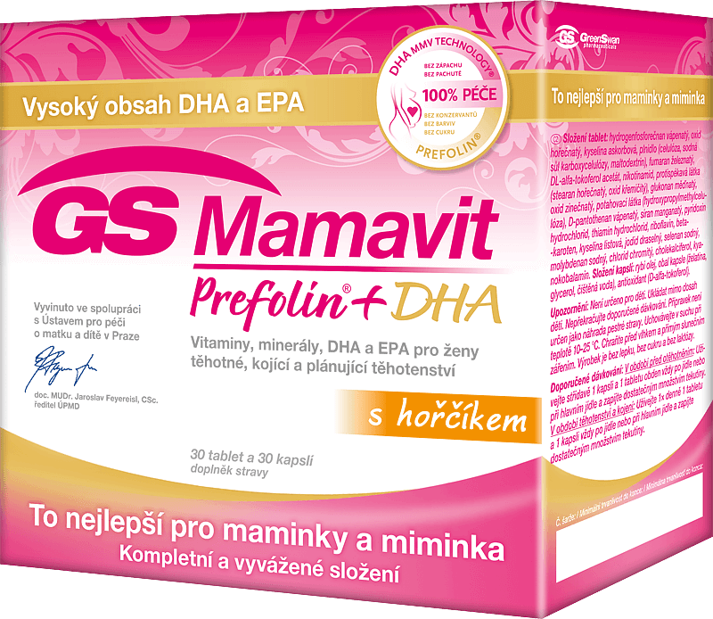 GS Mamavit Prefolin+DHA 30 tablet + 30 kapslí