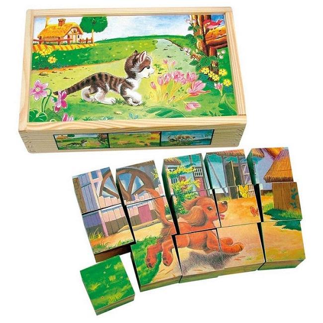 Bino  Obrázkové kostky - domácí zvířata 15 ks
