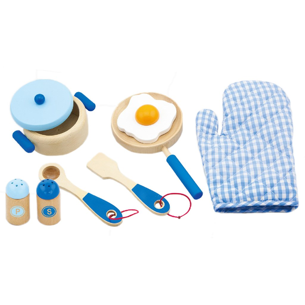 Viga Dětské dřevěné nádobí snídaně modré