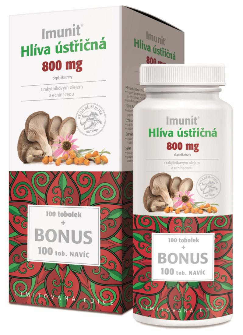 Imunit Hlíva ústřičná 800mg s rakytníkovým olejem a echinaceou 100+100 tobolek