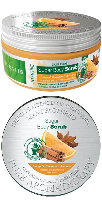 Naturalis cukrový peeling Pomeranč&Skořice&Badyán 300g