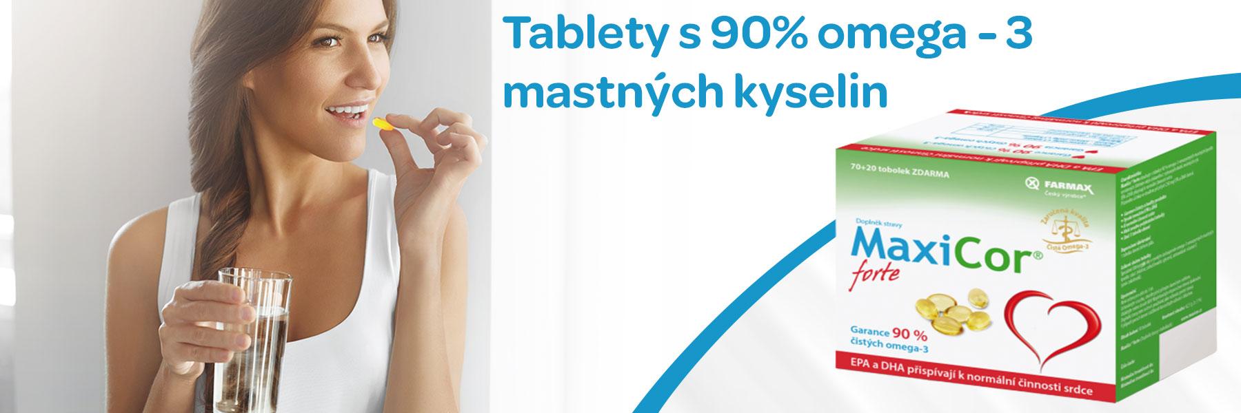 Maxicor forte, doplněk stravy s 90% mastných omega-3 kyselin, srdce, cholesterol, paměť, správný vývoj