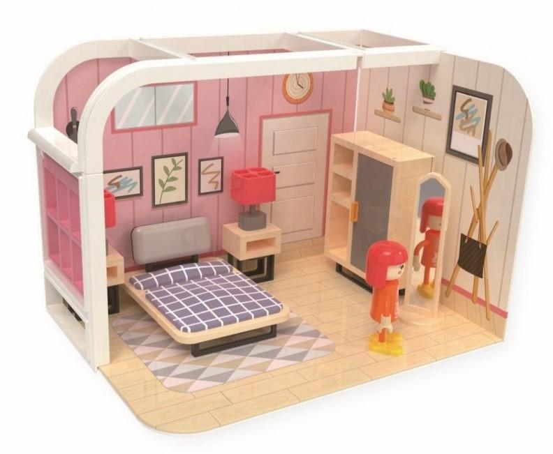 Jouéco Dřevěný hrací set ložnice 36m+