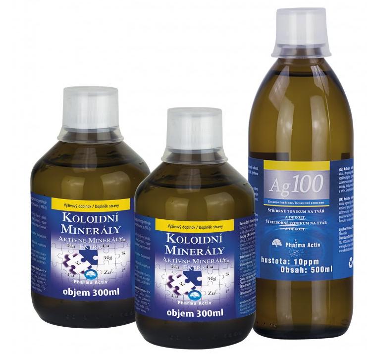 Pharma Activ Koloidní minerály 2x 300ml + Ag100 10ppm 500ml