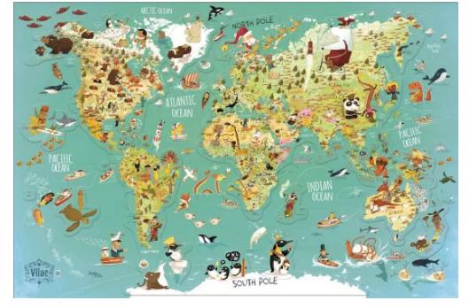II. jakost Vilac Nástěnná magnetická mapa světa (anglická verze)