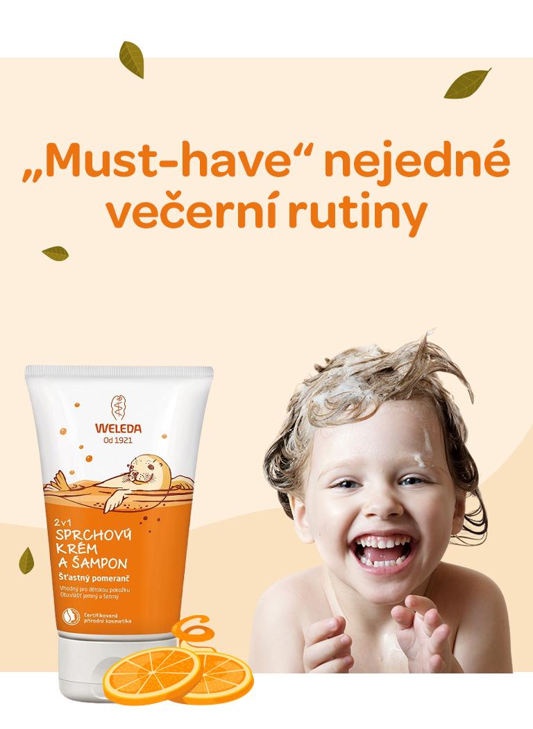 Weleda, mycí emulze nejen pro děti, s vůní pomeranče, přírodní složení, vegan, vhodné od 3 let, jemné na oči