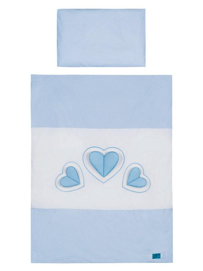 Belisima Baby  Belisima bílo-modré 6-dílné ložní povlečení Tři srdce 100/135