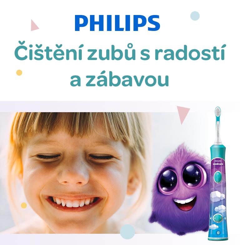 Philips sonicare, dětský sonický kartáček, naučí dítě správným návykům, motivuje k správnému čištění zubů