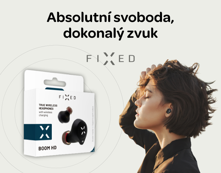FIXED TWS Sluchátka Boom HD s bezdrátovým nabíjením - černá