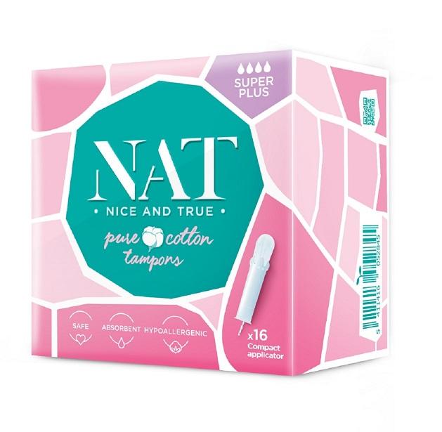 NAT nice & true Tampony z organické bavlny s aplikátorem Super Plus 16ks