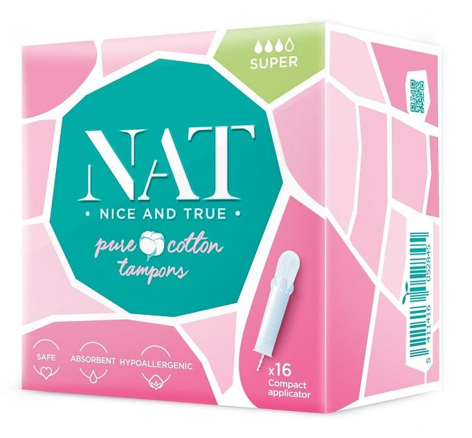 NAT nice & true Tampony z organické bavlny s aplikátorem Super 16ks