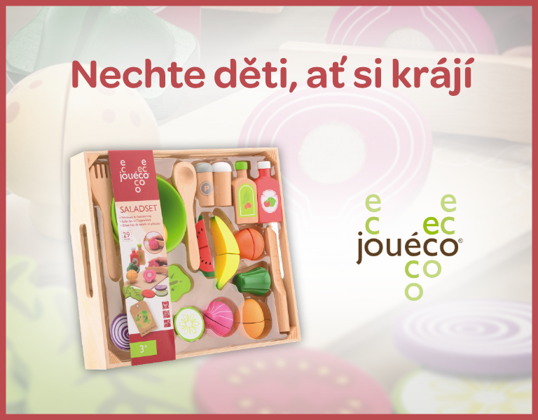 Jouéco Dřevěný salátový set s tácem 29ks