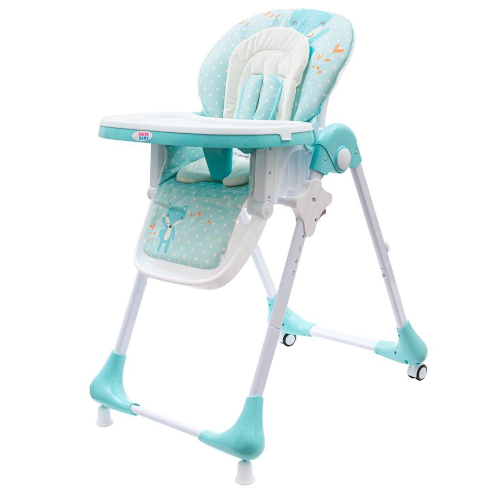 Jídelní židlička NEW BABY Minty Fox - ekokůže a vložka pro miminka 1ks