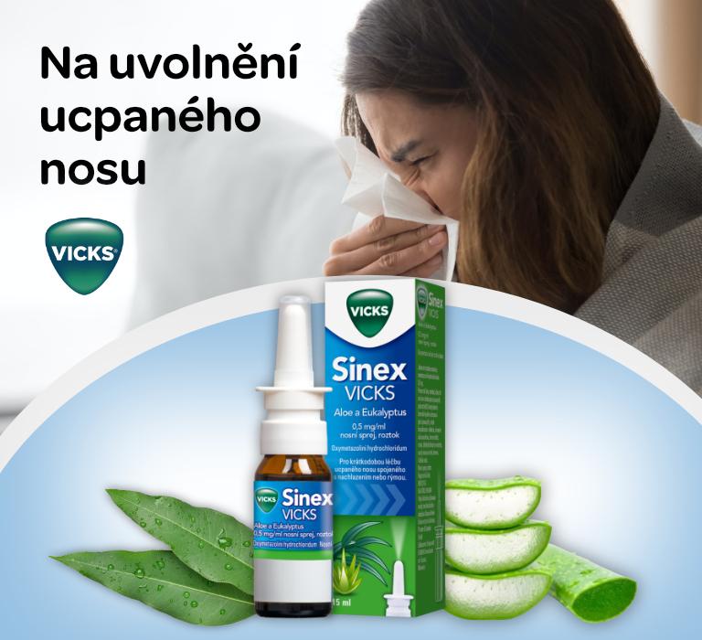 Sinex Vicks aloe a eukalyptus 0.5 mg/ml nosní sprej 15m