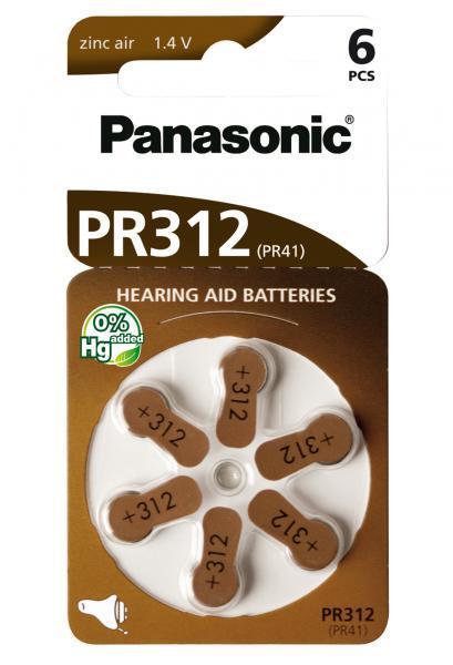 Panasonic PR-312B6 Baterie do naslouchadel 6ks