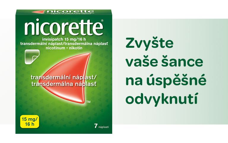 Nicorette, invisipatch 15mg/16h, transdermální náplast, odvykání kouření
