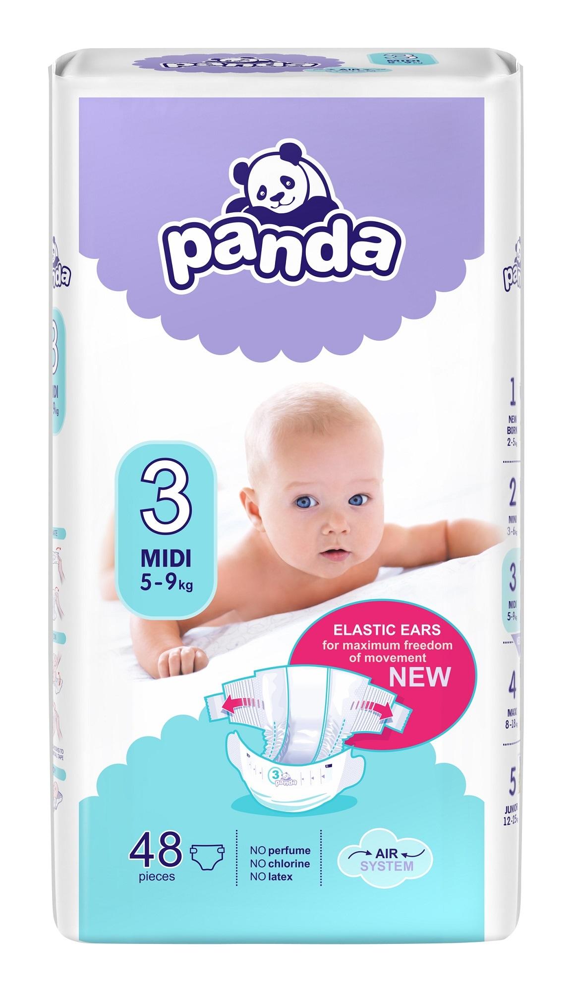 Panda Midi dětské pleny 48ks 5-9kg