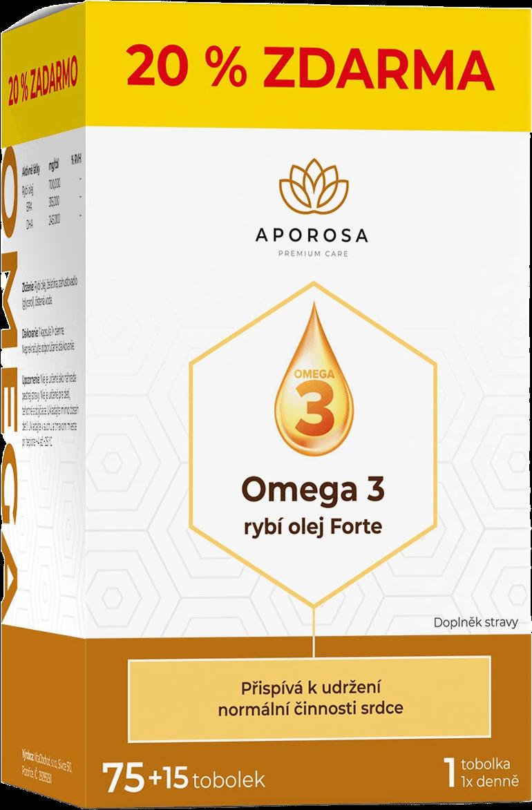 APOROSA Omega 3 rybí olej Forte 75+15 kapslí