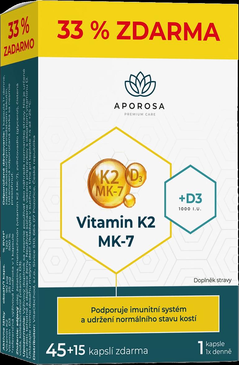 APOROSA Vitamin K2+D3 MK-7 45+15 kapslí