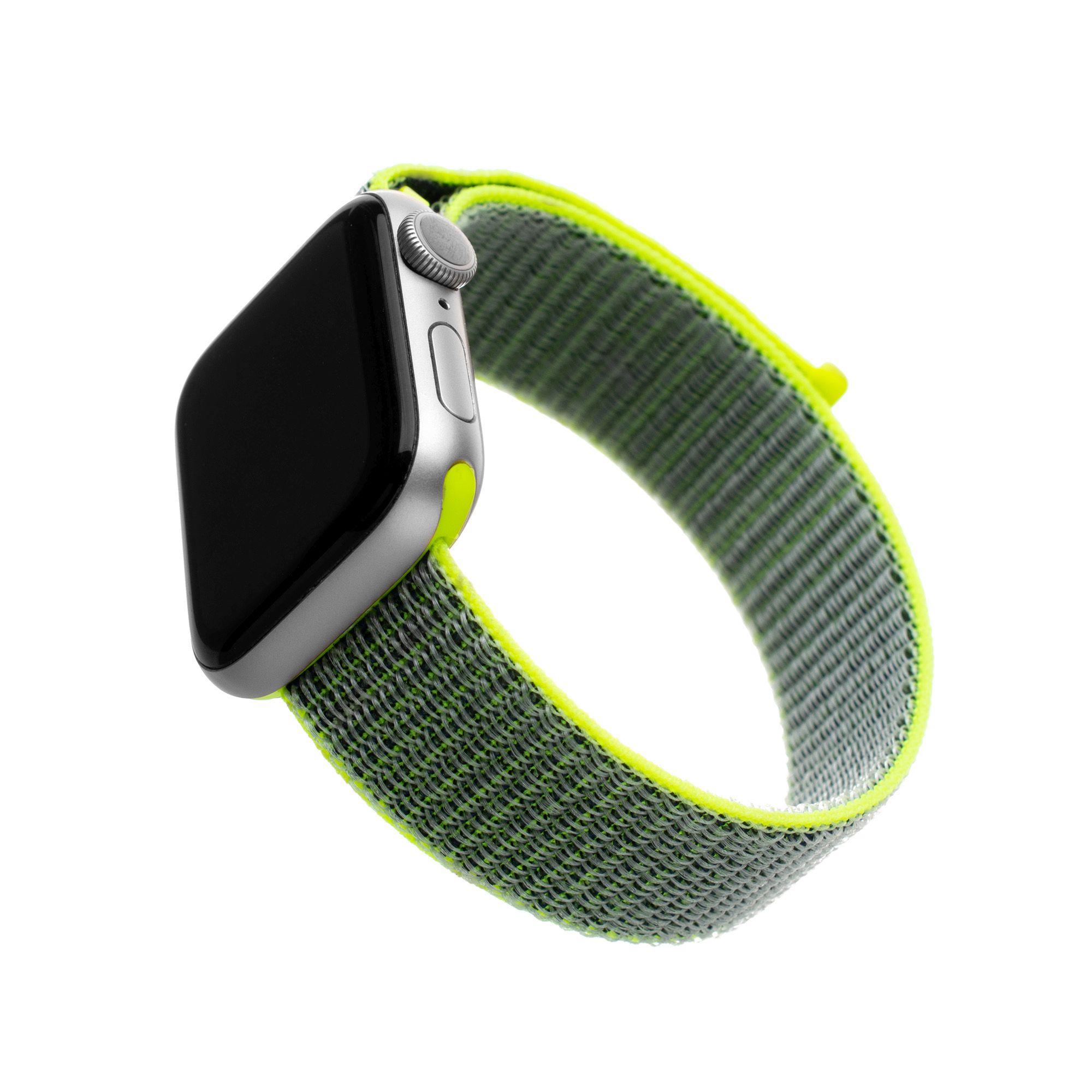 E-shop FIXED Nylonový řemínek Nylon Strap pro Apple Watch 44mm/ Watch 42mm, tmavě limetkový 1ks