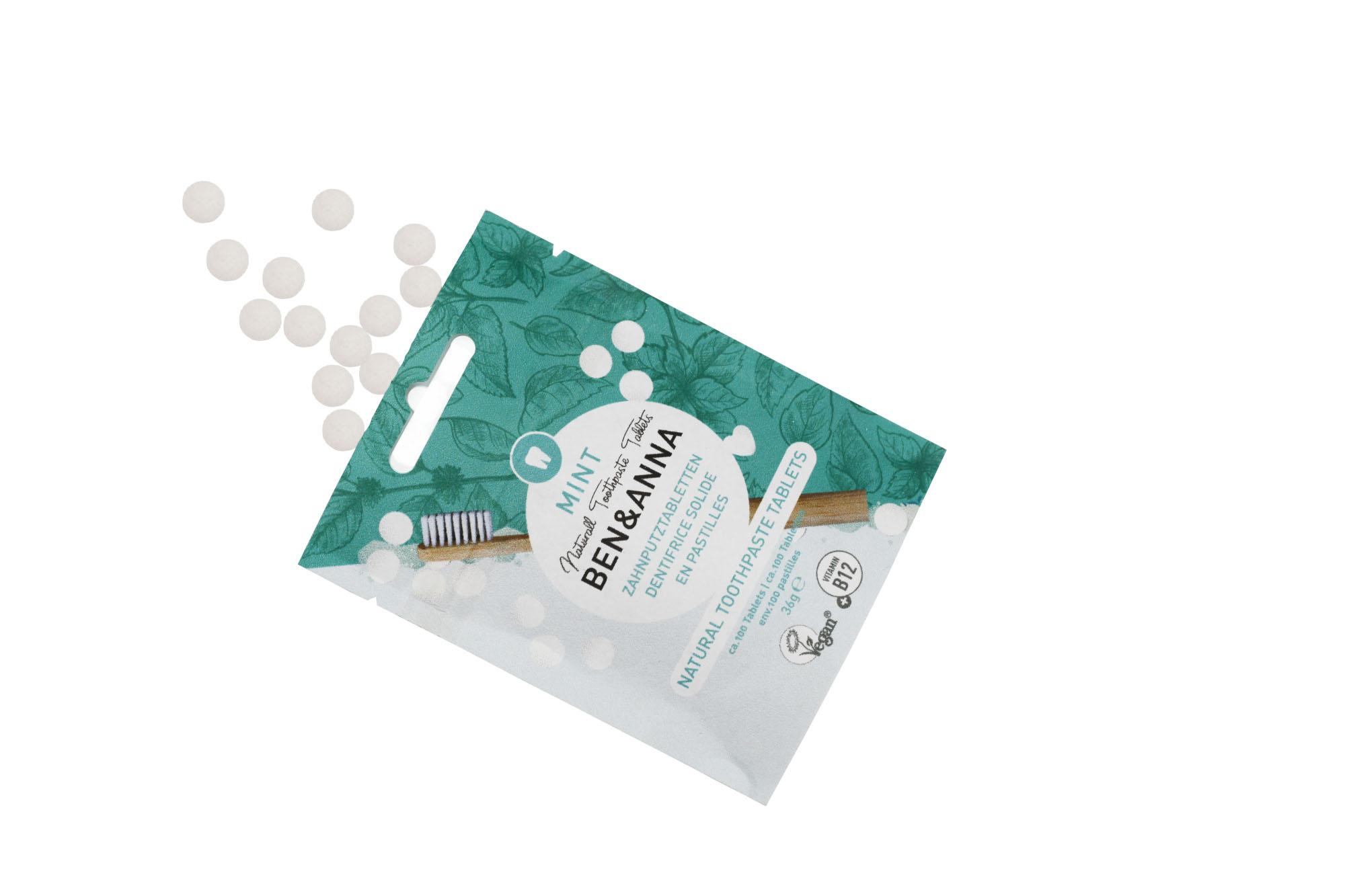 Ben & Anna Zubní pasta v tabletách bez fluoridu MINT 100ks