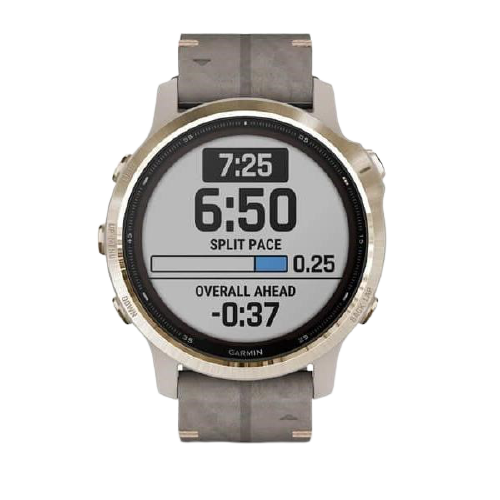 Garmin GPS športové hodinky fenix6S PRO Solar, LightGold / Suede Band (MAP / Music)