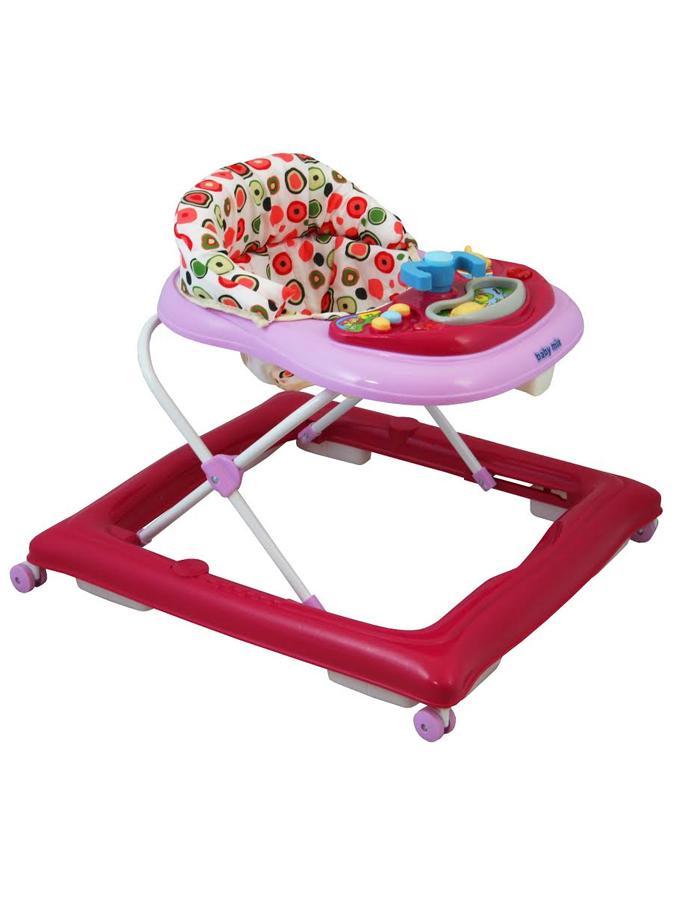 Baby Mix Detské chodítko s volantom a silikónovými kolieskami tmavo ružové