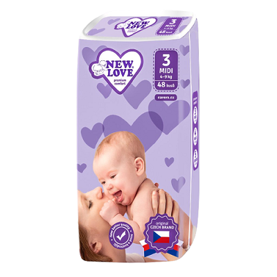 New Love Detské jednorázové plienky Premium comfort 3 MIDI 4-9 kg 48ks