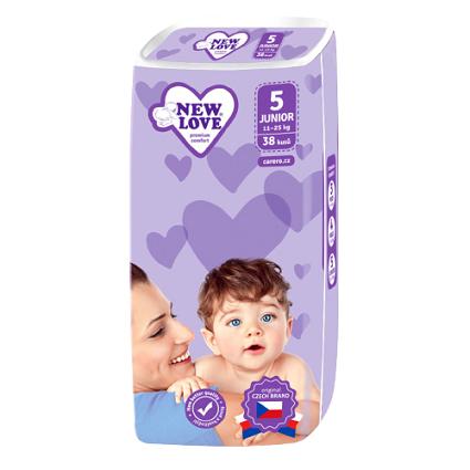 New Love Detské jednorázové plienky Premium comfort 5 JUNIOR 11-25 kg 38ks