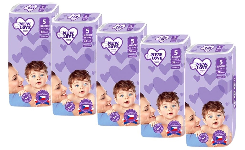 New Love Detské jednorazové plienky Premium comfort MEGAPACK 5 JUNIOR 11-25kg 5x38ks