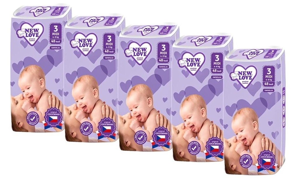 New Love Detské jednorazové plienky Premium comfort MEGAPACK 3 MIDI 4-9kg 5x48ks