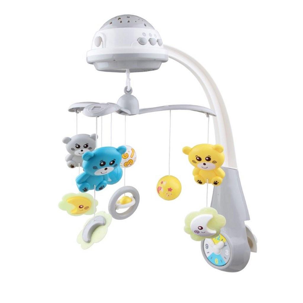 Baby Mix Kolotoč nad postieľku so svetelným projektorom grey