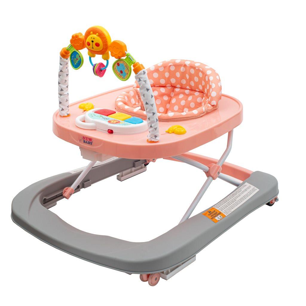 New Baby Detské chodítko so silikónovými kolieskami - Forest Kingdom Pink