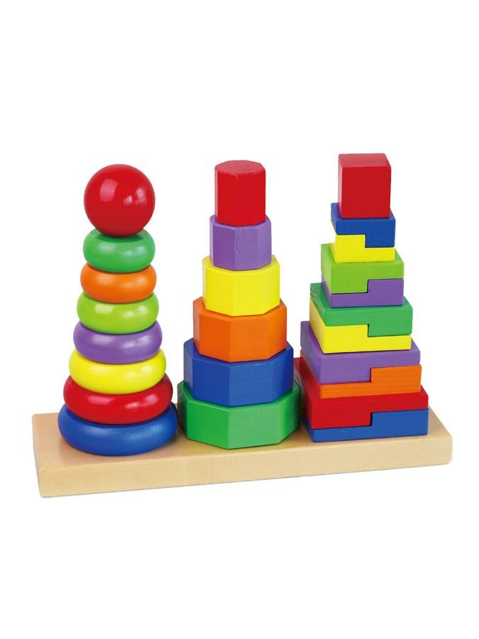 Viga Drevené farebné pyramidy pre deti
